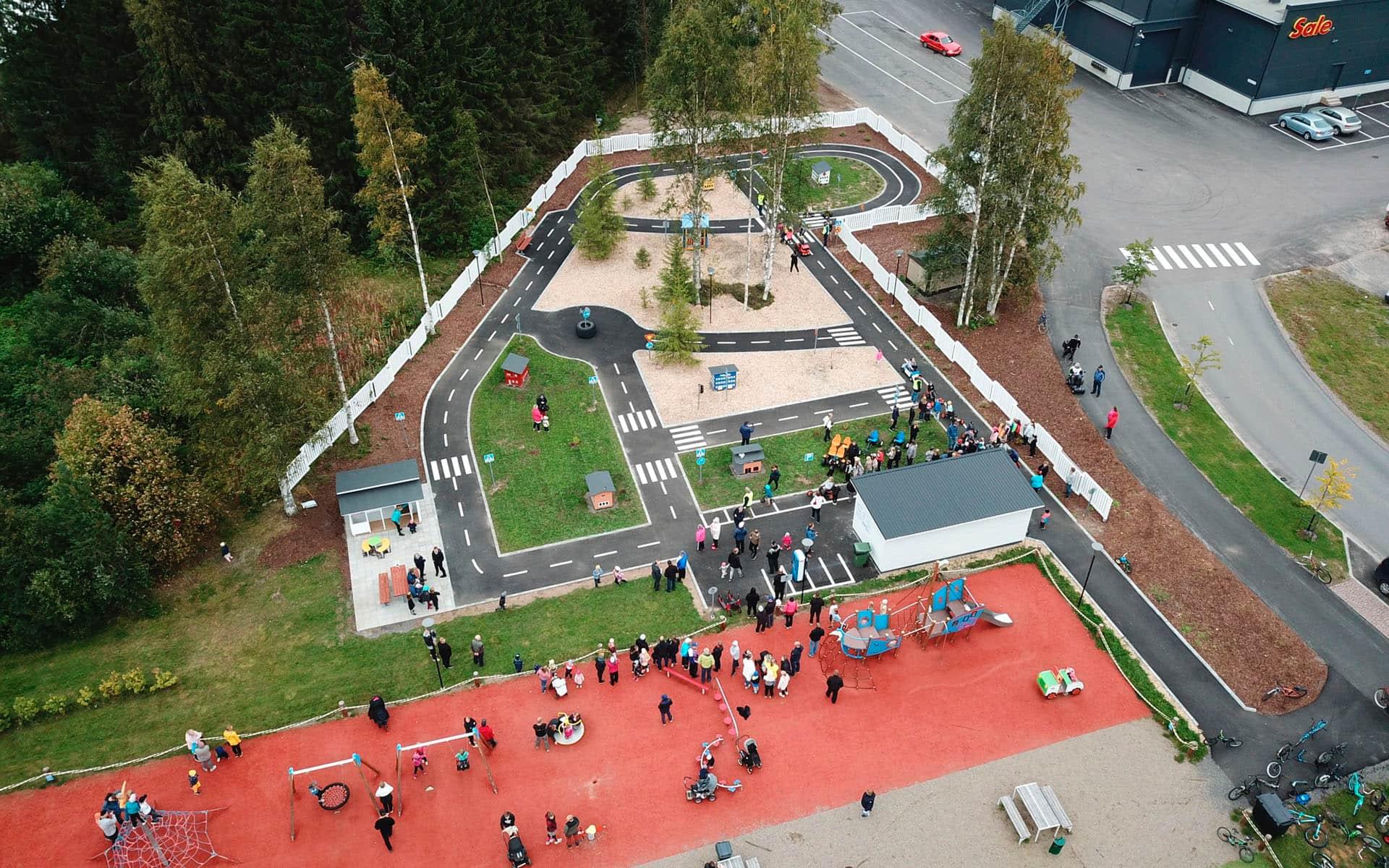 Ilmakuva liikenne- ja leikkipuistosta
